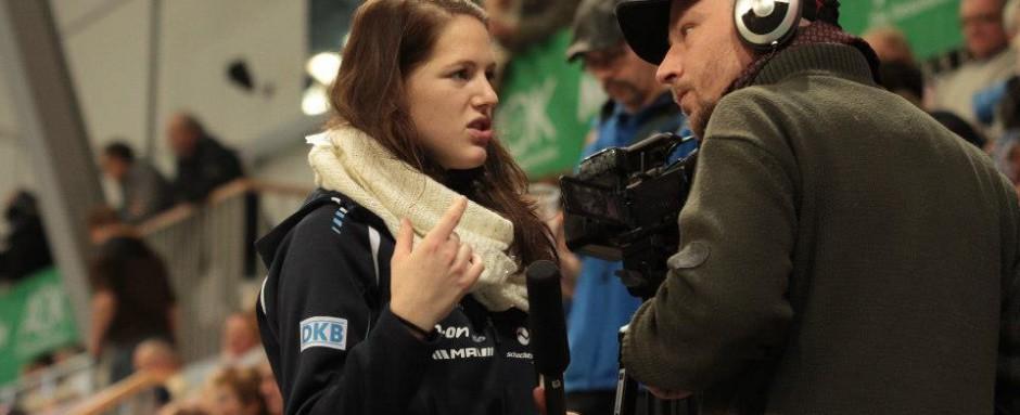 Turbine-Star Inka Wesely im Reportereinsatz